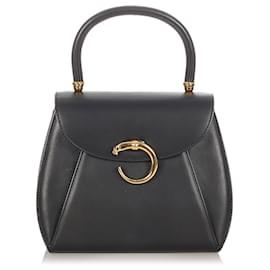 Cartier-Cartier Black Panthere Leather Handbag-Black