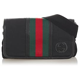 Gucci-Gucci Black Web Canvas Belt Bag-Black,Multiple colors
