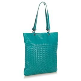 Bottega Veneta-Bottega Veneta Blue Intrecciato Leather Tote Bag-Blue