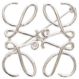 Loewe-Loewe Silver Anagram Brooch-Silvery