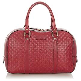 Gucci-Gucci Red Microguccissima Satchel-Red,Dark red