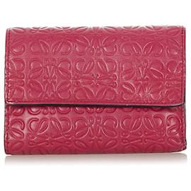 Loewe-Loewe Red Anagram Leather Small Wallet-Red