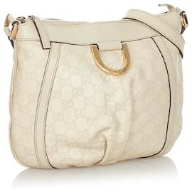 Gucci-Gucci White Guccissima Abbey D-Ring Crossbody Bag-White,Cream