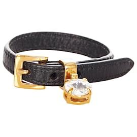 Miu Miu-Miu Miu Black Leather Bracelet-Black,Golden