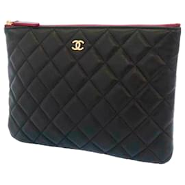 Chanel-Chanel Black Matelasse CC Lambskin Leather Clutch Bag-Brown,Black