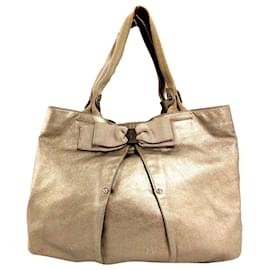 Salvatore Ferragamo-Ferragamo Brown Vara Leather Tote Bag-Brown,Golden
