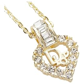 Dior-Dior Gold Rhinestone Heart Pendant Necklace-Golden