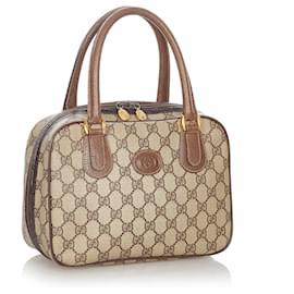 Gucci-Gucci Brown GG Supreme Handbag-Brown,Beige