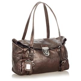 Prada-Prada Brown Easy Leather Shoulder Bag-Brown,Bronze