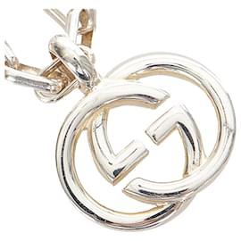 Gucci-Gucci Silver Interlocking G Pendant Necklace-Silvery