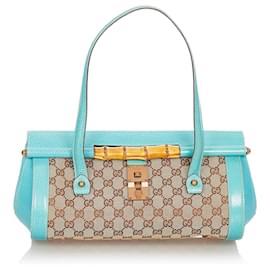 Gucci-Gucci Brown GG Canvas Bamboo Bullet Shoulder Bag-Brown,Blue,Beige,Light blue