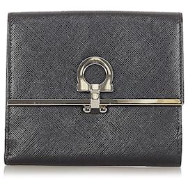 Salvatore Ferragamo-Ferragamo Black Gancini Leather Small Wallet-Black
