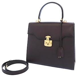 Gucci-Gucci Purple Vintage Lady Lock Leather Satchel-Purple