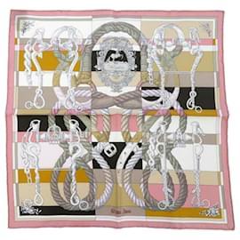 Hermès-Hermes Pink Della Cavalleria Silk Scarf-Pink,Multiple colors