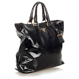 Prada-Prada Black Patent Leather Satchel-Black