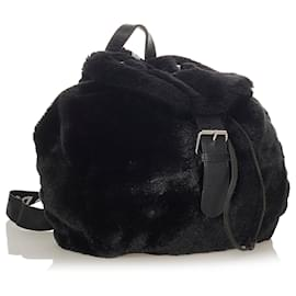 Dolce & Gabbana-Dolce&Gabbana Black Faux Fur Backpack-Black