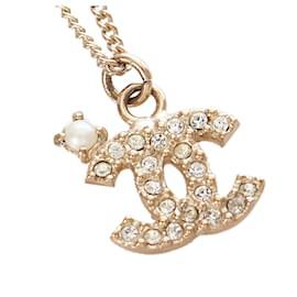 Chanel-Chanel Gold CC Pendant Necklace-Golden