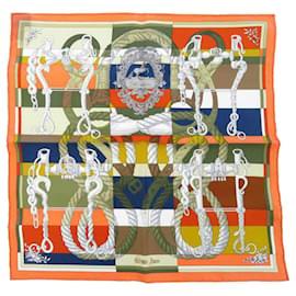 Hermès-Hermes Orange Della Cavalleria Silk Scarf-Multiple colors,Orange