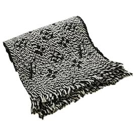 Louis Vuitton-Louis Vuitton White Logomania Wool Scarf-Black,White