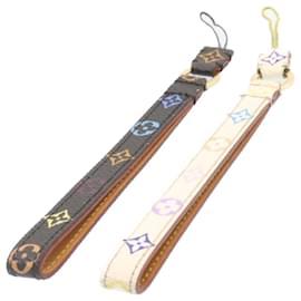 Louis Vuitton-LOUIS VUITTON Monogram Multicolor Mobile Phone Strap 2Set Black White Auth 24417-Brown