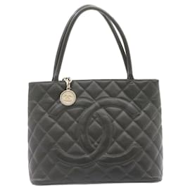 Chanel-CHANEL Caviar Skin Matelasse Tote Bag Leather Black Silver CC Auth ar4586-Black,Silvery