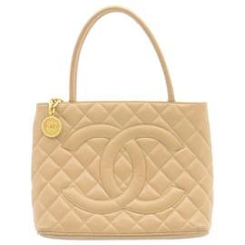 Chanel-CHANEL Caviar Skin Matelasse Tote Bag Leather Beige CC Auth ar4587-Beige