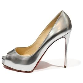 Christian Louboutin-LOUBOUTIN OPEN TOES PUMPS IN SILVER MIRROR ICE LEATHER-Silvery