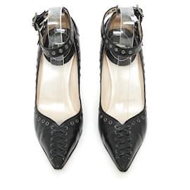 Christian Dior-GALLIANO BLACK LACE UP FR39-Black