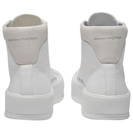 Alexander Mcqueen-Deck Sneakers in White Canvas-White