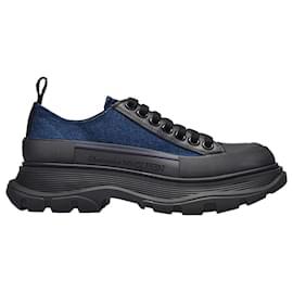 Alexander Mcqueen-Tread Slick Sneakers in Blue Canvas-Blue