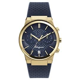 Salvatore Ferragamo-Ferragamo Sapphire Chrono Silicone Watch-Golden,Metallic