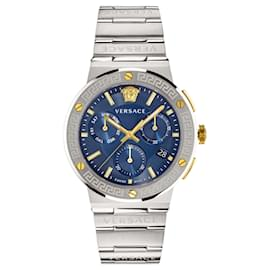 Versace-Greca Logo Chronograph Watch-Silvery,Metallic