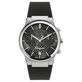 Salvatore Ferragamo-Ferragamo Sapphire Chrono Silicone Watch-Silvery,Metallic