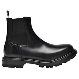 Alexander Mcqueen-Watson Boots in Black Leather-Black