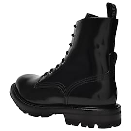 Alexander Mcqueen-Laced Boots in Black Patent Leather-Black