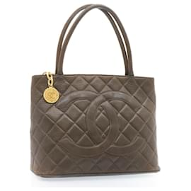 Chanel-CHANEL Matelasse Tote Bag Leather Brown CC Auth gt959-Brown