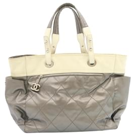 Chanel-CHANEL Paris Biarritz Tote Bag Coated Canvas Silver CC Auth se170-Silvery