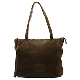 Chanel-CHANEL Tote Bag Suede Brown CC Auth fm549-Brown