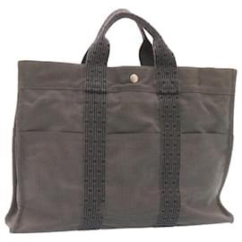 Hermès-HERMES Her Line MM Hand Bag Canvas Gray Auth ki957-Grey