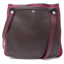 Hermès-HERMES MRS HIPPIE SHOULDER BAG IN CANVAS & LEATHER TWO-TONE HAND BAG-Other