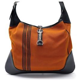 Hermès-NEW HERMES TRIM HANDBAG IN ORANGE STRIPED CANVAS & BLACK LEATHER NEW CANVAS HANDBAG-Orange