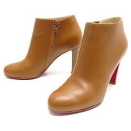 Christian Louboutin-CHRISTIAN LOUBOUTIN BELBA SHOES 85 37 LOW BOOTS CAMEL LEATHER ANKLE BOOTS-Caramel