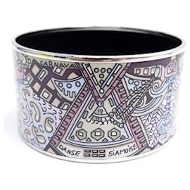 Hermès-NEW HERMES BRACELET XL PRINTED ENAMEL CUFF PALLADY FINISH + BOX-Silvery
