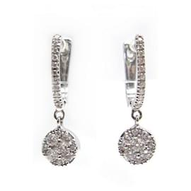 Djula-NEW DJULA CREOLES GRAPHIC WHITE GOLD EARRINGS 18k and diamonds-Silvery