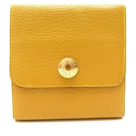 Hermès-VINTAGE BLOCK HOLDER HERMES TIGHTS IN YELLOW MYSORE GOAT LEATHER HOLDER-Yellow