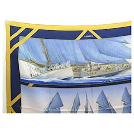 Hermès-VINTAGE SCARF HERMES RAFALES MANIER SQUARE 90 SILK BLUE SILK SCARF-Blue