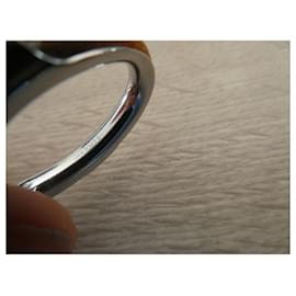 Hermès-Hermès kyoto GM scarf ring silver steel-Silver hardware