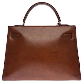 Hermès-uperbe and very sought after Hermes Kelly bag 32 Peccary leather saddler (Wild pork) Brown, gold plated metal trim-Brown