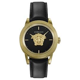 Versace-Palazzo Empire Leather Watch-Golden,Metallic