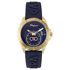 Salvatore Ferragamo-Ferragamo Urban Silicone Watch-Golden,Metallic